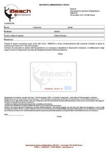 modulo iscrizione IBEACH asd