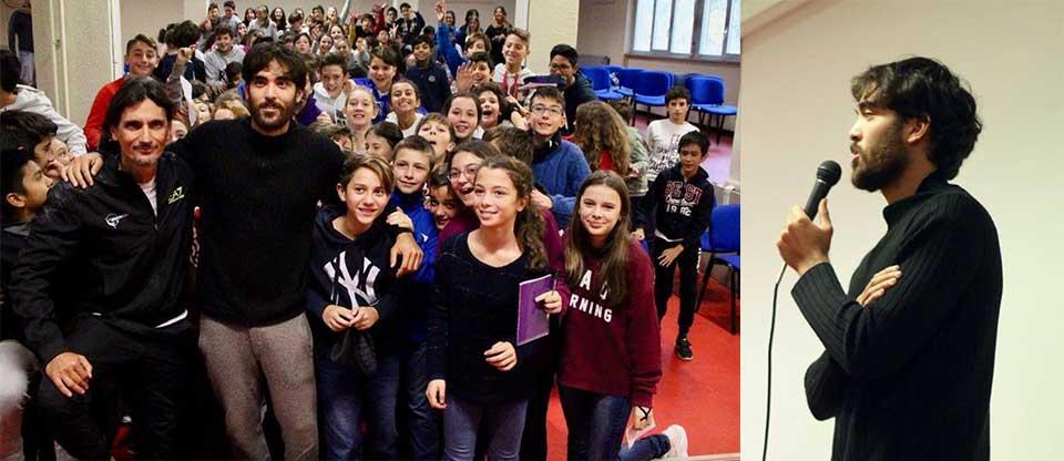 Daniele incontra i ragazzi di una scuola di Roma